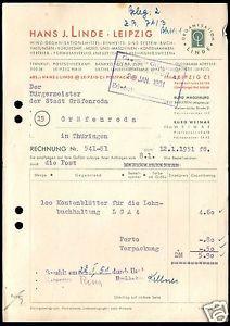 Rechnung, Fa. Hans J. Linde, Leipzig, Bürobedarf, 12.1.51