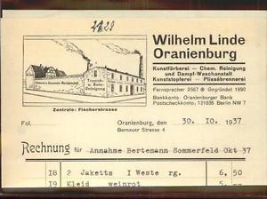41404137 Oranienburg Fa Wilhelm Linde Rechng Oranienburg