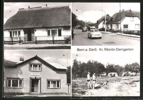 AK Born, Speisegaststätte Tourist, Siedlung, FDGB-Gaststätte Zur Linde, Zeltpla