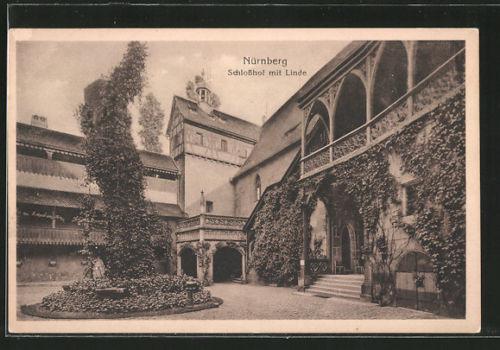 tolle AK Nürnberg, Schloßhof mit Linde