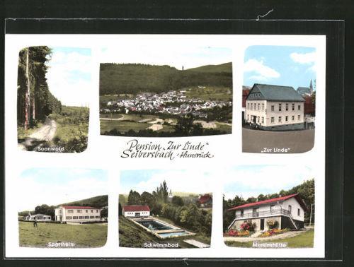 schöne AK Seibersbach, Pension Zur Linde, Sportheim, Martinshütte, Schwimmbad