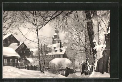 alte AK Großbreitenbach, Ortspartie an der alten Linde im Winter