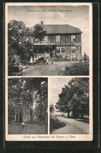 AK Bilderlahe, Gasthof zur Linde v. W. Emmermann, Ruine Wohldenstein, Ortsparti