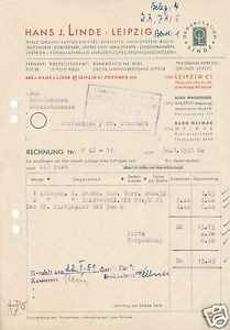 Rechnung, Fa. Hans. J. Linde, ... Bürobedarf ..., Leipzig C 1, 30.1.51