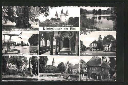 AK Königslutter, Kaiser-Lother-Linde, Kaiserdom, Lutterteich, Badeanstalt, Mark