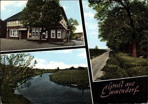 Ak Emmendorf, Blick auf Gasthof Zur Linde, Partie am Wald, Fluss - 1325926