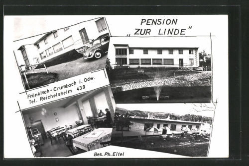 tolle AK Fränkisch-Crumbach, Pension Zur Linde 1961