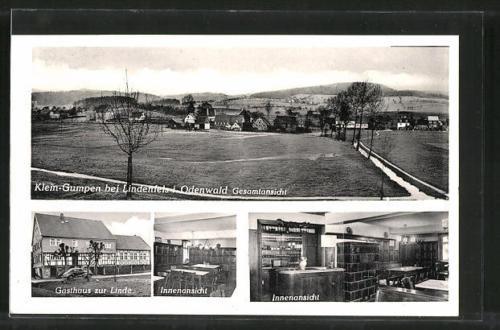 tolle AK Klein-Gumpen, Gasthaus Zur Linde, Ortspanorama