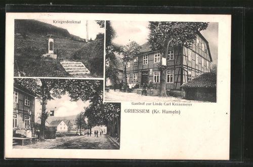 tolle AK Griessem, Gasthof zur Linde, Kriegerdenkmal