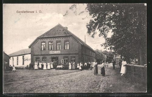 tolle AK Ganderkesee, Blick auf den Gasthof zur Linde 1918