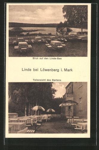 alte AK Löwenberg, Gasthaus Linde, Garten mit Seeblick