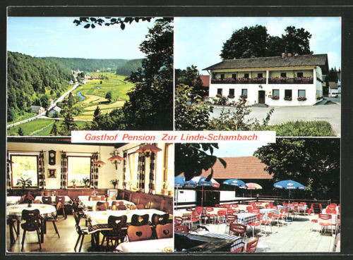schöne AK Schambach, Gasthof-Pension Zur Linde mit Gastraum und Terrasse
