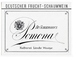 LINDE – Lipka Polen POMONA Dr. Schliemann Frucht-Schaumwein Etikett label x0845