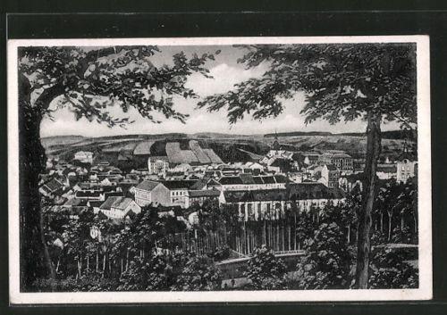 schöne AK Kamnitz a. d. Linde /Kamenice nad Lipou, Gesamtansicht 1946