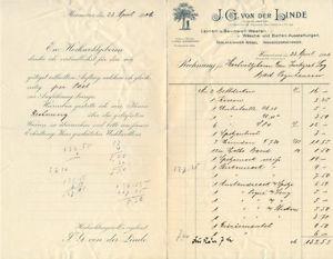 Hannover alte Rechnung Fa. von der Linde Leinen und Baumwoll-Waaren 1906 deko