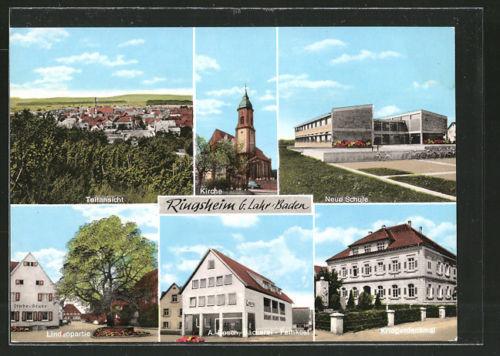 alte AK Ringsheim, Gasthaus Linde-Stube, Kirche, Schule