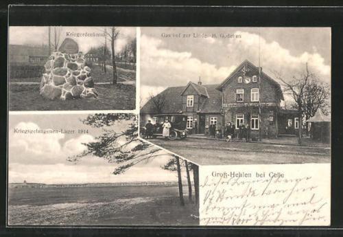 AK Groß-Hehlen, Gasthof zur Linde, Kriegsgefangenen-Lager 1914, Kriegerdenkmal