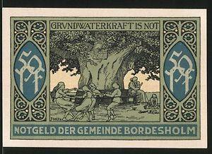 Notgeld Bordesholm 1921, 50 Pfennig, Stadtwappen, Mädchen tanzen unter Linde
