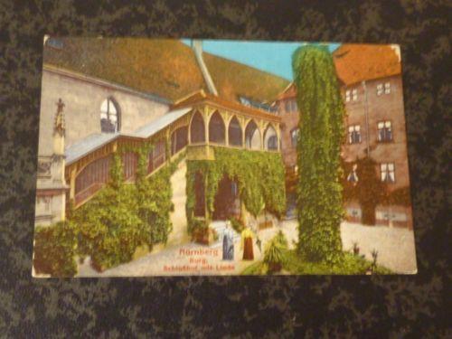 Ak Nürnberg - Burg - Schloßhof mit Linde und 2 Frauen - coloriert - ca. 1910