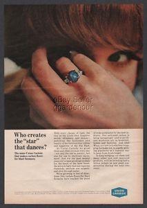 1965 Linde Star Blue Sapphire Ring Jewelry Photo Print Union Carbide Ad