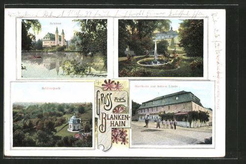 tolle AK Blankenhain, Gasthaus zur hohen Linde, Schloßpark, Schloß