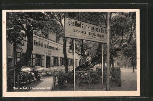 alte AK Stolpe, Gasthof zur krummen Linde mit Kegelbahn 1941