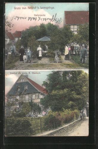 alte AK Neuhof, Gartenpartie, Gasthof Zur Linde 1908