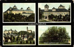 Ak Augustusburg im Erzgebirge, Verkehrt gepflanzte Linde, Schloss - 1071083