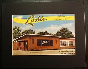 DINE AT LINDE'S, U.S. HIGHWAY 82, ALBANY, GEORGIA, GA., Print