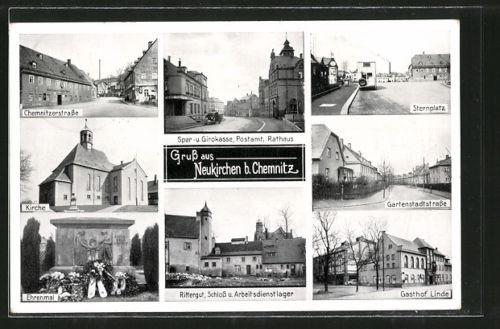 schöne AK Neukirchen, Gartenstadtstraße, Chemnitzerstraße, Gasthof Linde