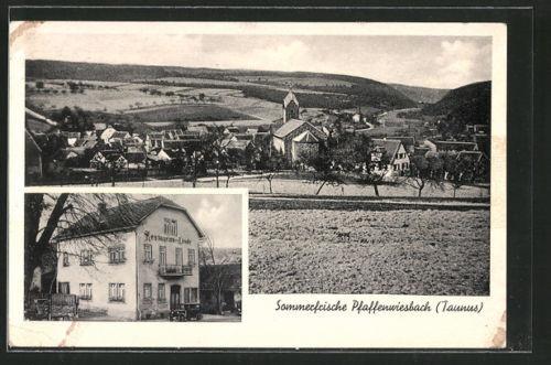 alte AK Pfaffenwiesbach, Gasthaus zur Linde, Ortsansicht