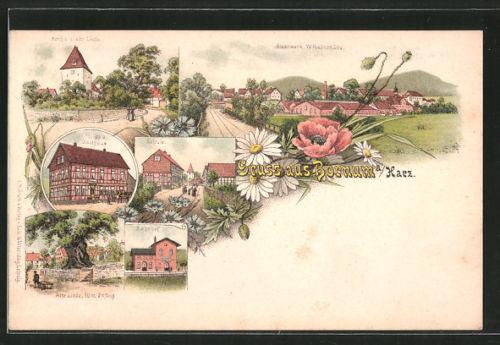 Lithographie Bornum, W. Philipp´s Gasthaus, Bahnhof, Kirche und alte Linde, Eis