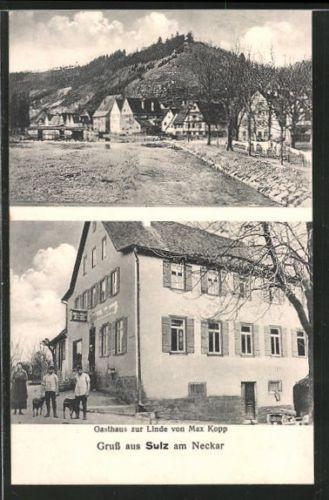 schöne AK Sulz, Gasthaus zur Linde, Ortsansicht