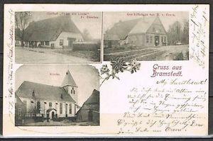 """Niedersachsen: Gruss aus Bramstedt Gasthof """"Unter der Linde"""", Kirche, 1900 #0077"""