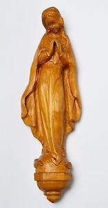 Skulptur Holz Linde handgeschnitzt Maria Immaculata Wandskulptur 50/60er H. 45cm