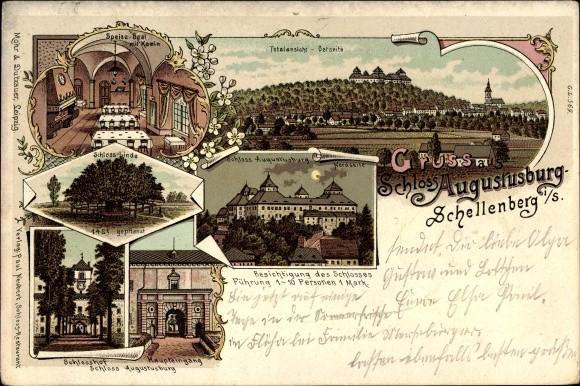 Litho Augustusburg im Erzgebirge, Totalansicht, Schloss, Linde,... - 1451320