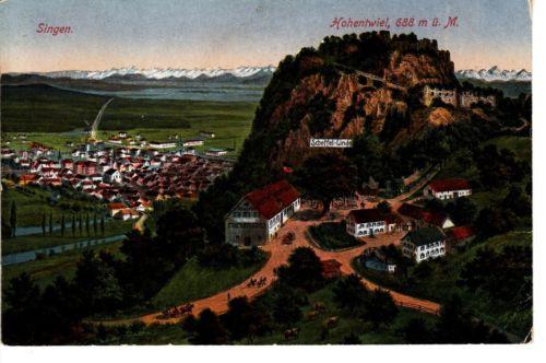 Singen Hohentwiel AK 1920 Festungsruine Scheffel-Linde Baden-Württemberg 1502443