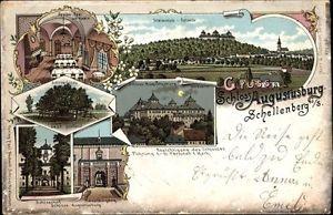 Litho Augustusburg im Erzgebirge, Totalansicht, Schloss, Linde,... - 1572112