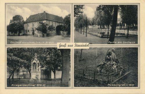 Ak, Gruß aus Strarsiedel, Gasthof zur Linde, Mehrbildkarte, 1939, (G) (0505)