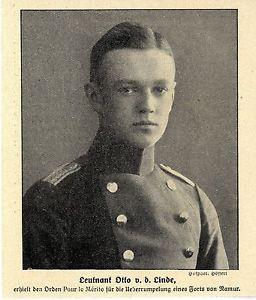 Leutnant Otto v. d. Linde erhielt den Orden Pour le Mérite für Namur-Einsatz1914