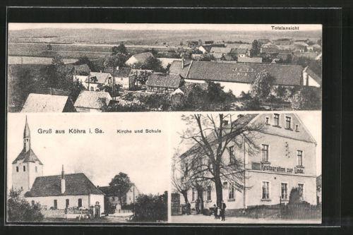 tolle AK Köhra, Restaurant zur Linde, Kirche und Schule