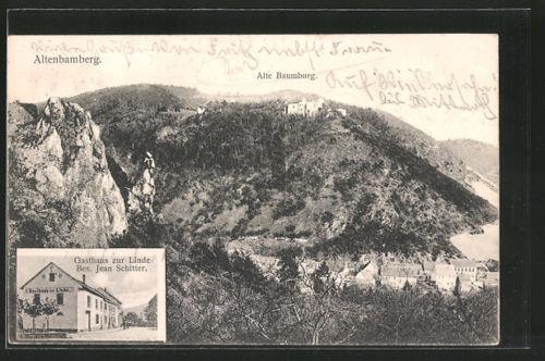 alte AK Altenbamberg, Gasthaus zur Linde v. J. Schitter, Alte Baumburg