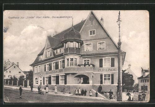 schöne AK Donaueschingen, Gasthaus zur Linde von Karl Kiefer
