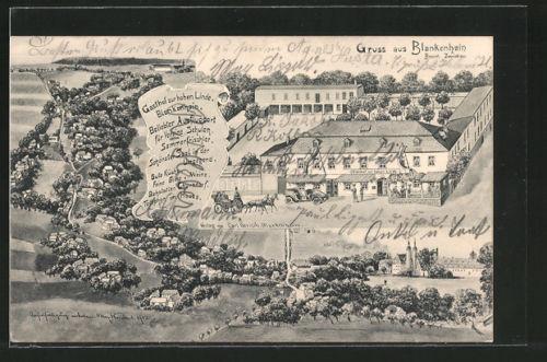 alte AK Blankenhain, Gasthaus zur hohen Linde, Ortsansicht