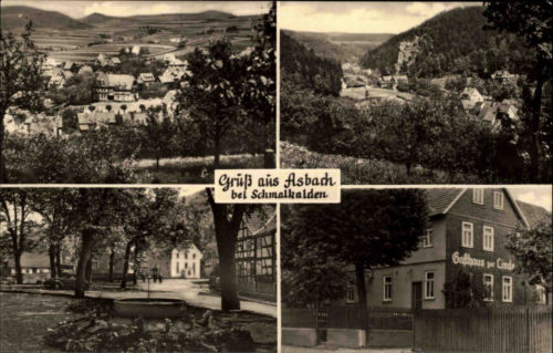 Asbach bei Schmalkalden DDR s/w AK 1966 Gesamtansicht Gasthaus zur Linde Brunnen