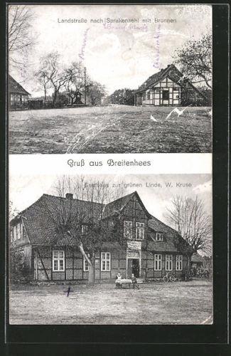 AK Breitenhees, Gasthaus zur grünen Linde, Landstraße nach Sprakensehl mit Brun