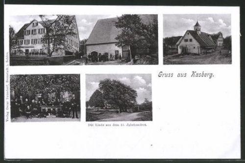 AK Kasberg, Linde aus dem 15. Jahrhundert, Gasthaus Friedrich Hoffmann, Blick a