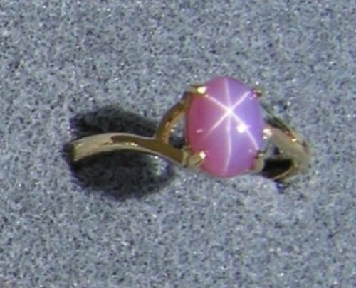 VINTAGE LINDE LINDY DUSKY ROSE STAR SAPPHIRE CREATED BYPASS RING YLGDPLT .925 SS