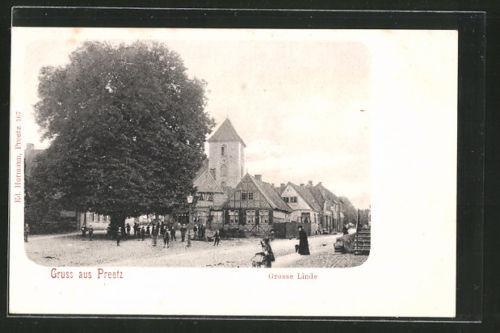 schöne AK Preetz, Teilansicht mit Grosser Linde und Kirche