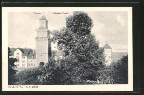 schöne AK Neuenstadt, 1000 jährige Linde, Torturm